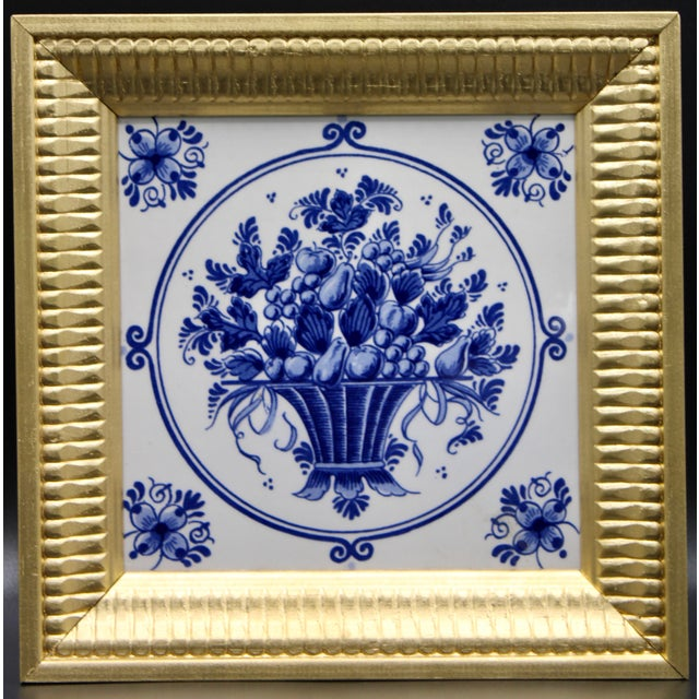 Mid-20th Century Dutch Delft Floral Gilt Wood Framed Tiles - a Pair For Sale In Tulsa - Image 6 of 13