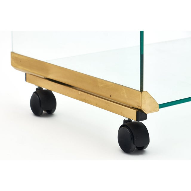Modernist Glass and Brass Side Table For Sale - Image 9 of 10