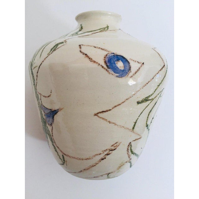 Postmodern Vase With Abstract Head Portraits Figures in Jean Cocteau Style For Sale - Image 9 of 11