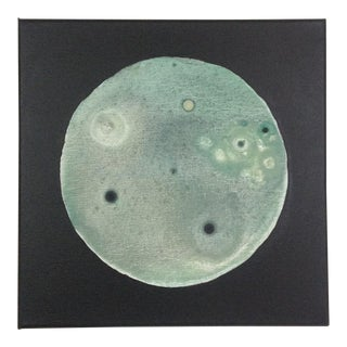 Original Abstract Sage Green Moon Painting For Sale