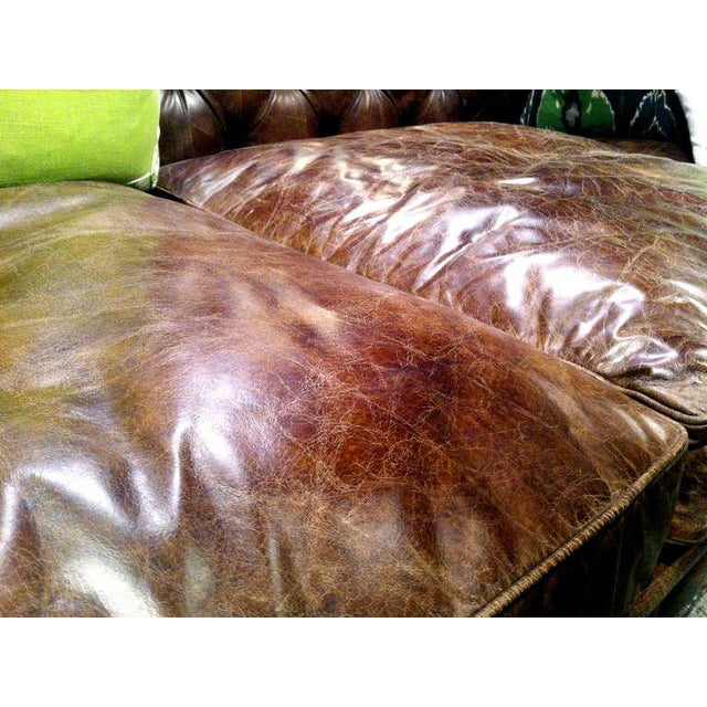 English Traditional Pair of Monumental Distressed Leather Chesterfield Sofas For Sale - Image 3 of 7