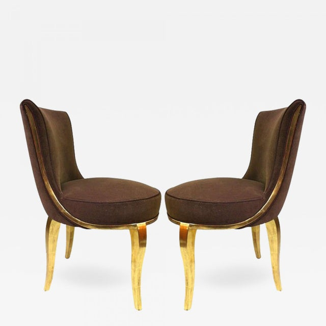 Art Deco Paul Follot Exquisite Pair of Boudoir Chairs Newly Gilded and Recovered For Sale - Image 3 of 3