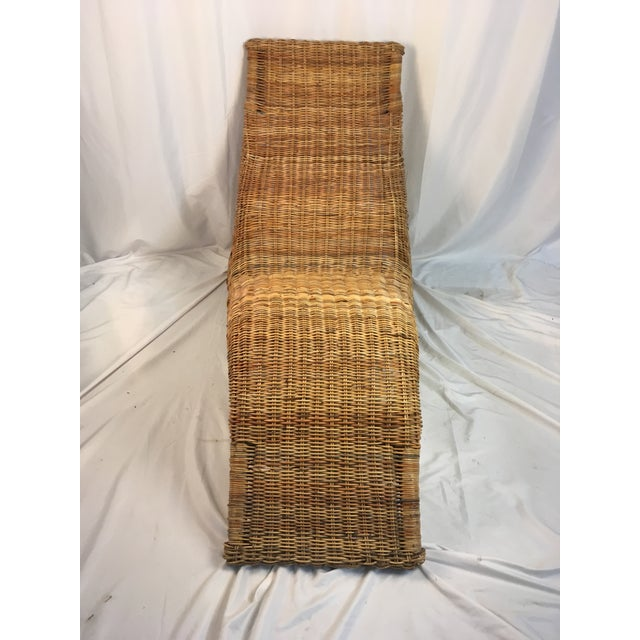 Boho Chic 1970s Vintage Wicker Chaise Lounge For Sale - Image 3 of 9