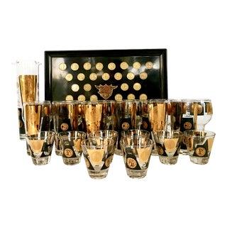 "Mid-Century Modern 22-Karat Gold ""US Coins"" Drinks Set - Set of 22"