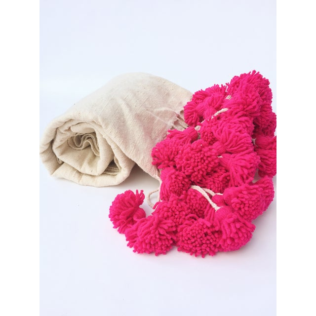 Moroccan Pink Braided Pom Pom Wool Blanket - Image 2 of 4