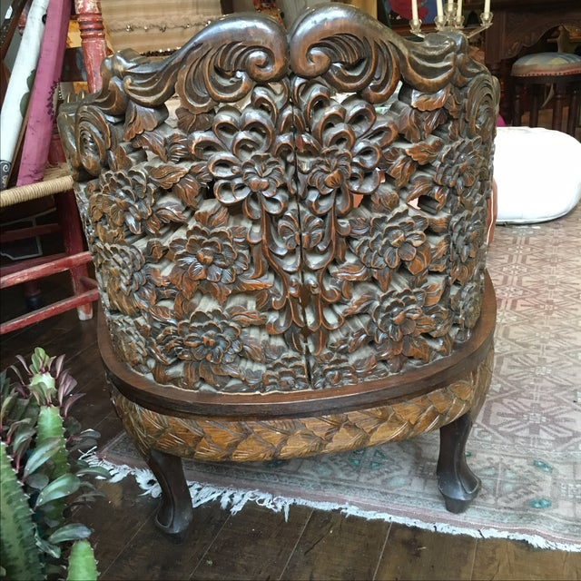 Ornately Carved Wooden Asian Accent Chair - Image 7 of 10