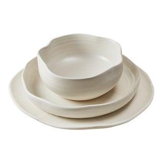 """Contemporary Handmade Ceramic """"Malibu"""" Place Setting - Set of 3"""