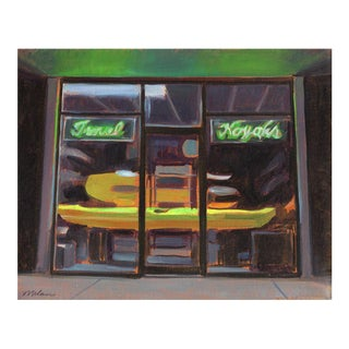 "Peter Contemporary Framed Architectural Painting ""Kayak Store"" For Sale"