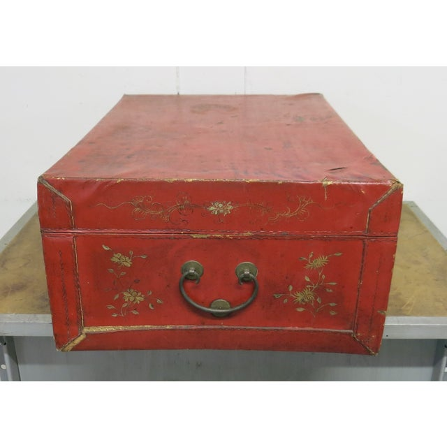 Antique Chinese Leather Trunk For Sale - Image 9 of 13