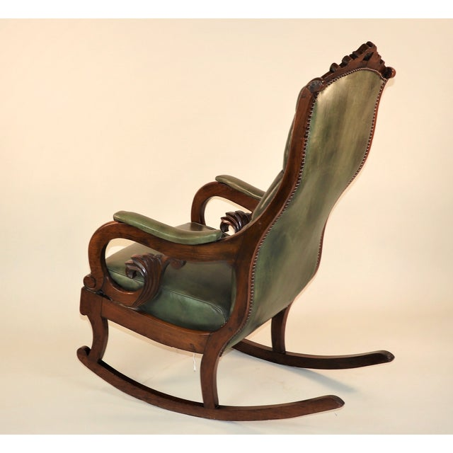 Early 19th Century 1830s English William IV Mahogany & Leather Rocking Chair For Sale - Image 5 of 13