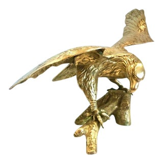 Cast Brass Eagle on a Branch Sculpture For Sale