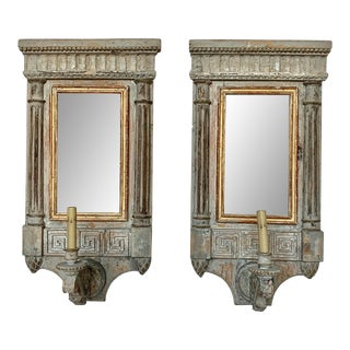 Pair of Painted and Parcel Gilt Sconces For Sale