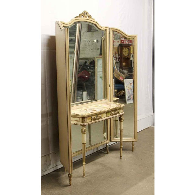 French Antique Folding Mirror Vanity Table With Onyx Top For Sale - Image 3 of 8