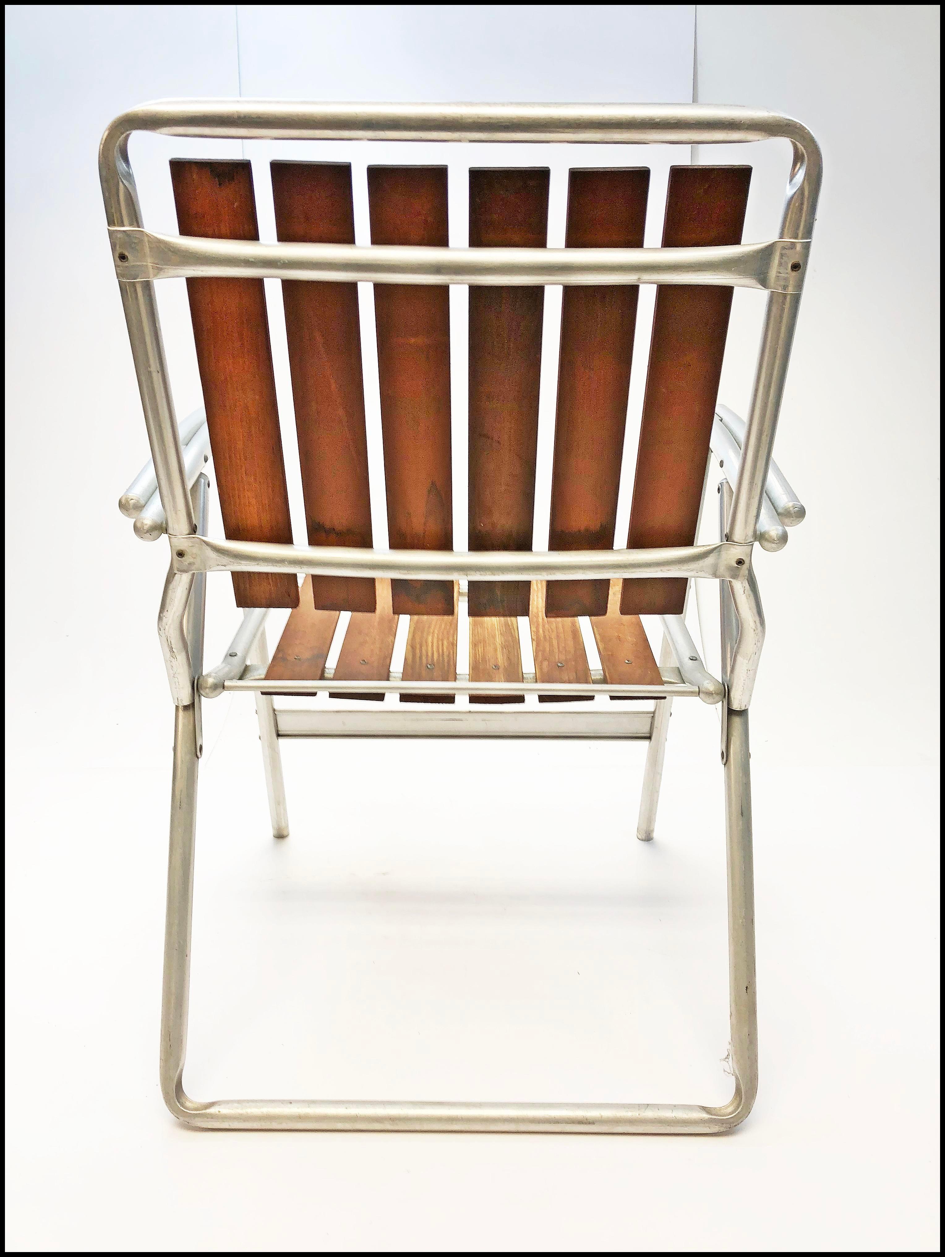 Vintage Redwood U0026 Aluminum Folding Patio Chair   Image 10 Of 13