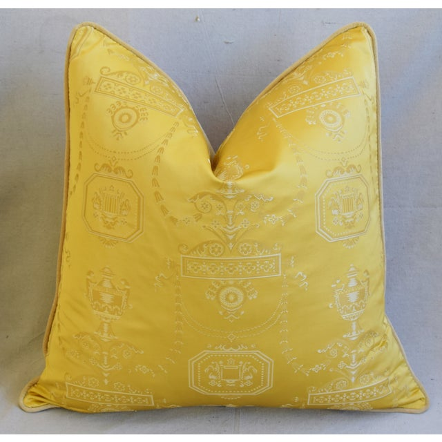 """Early 21st Century Designer Italian Golden Silk Lampas Feather/Down Pillows 24"""" Square - Pair For Sale - Image 5 of 12"""