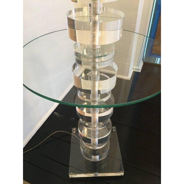 Hollywood Regency Vintage Geometric Lucite Floor Lamp For Sale - Image 3 of 11