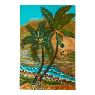 Artist Signed Large Vintage Batik Painting, Palm Trees Beach Boho Chic For Sale