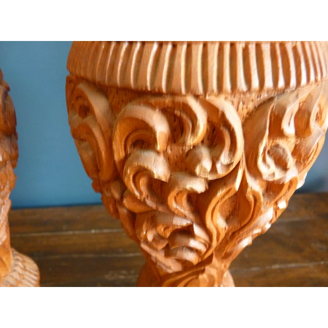 Large Carved Wood Candle Vases - a Pair For Sale - Image 4 of 7