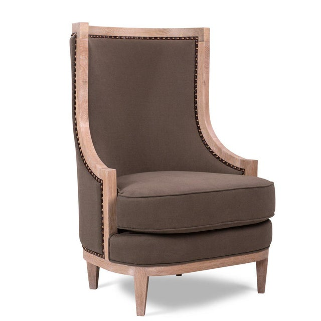 Not Yet Made - Made To Order Royale Wing Chair in Brown For Sale - Image 5 of 5