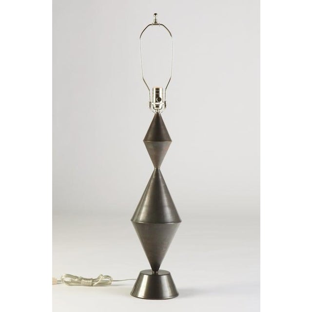 Gunmetal Patinated Brass Conical Lamps - a Pair For Sale - Image 4 of 6