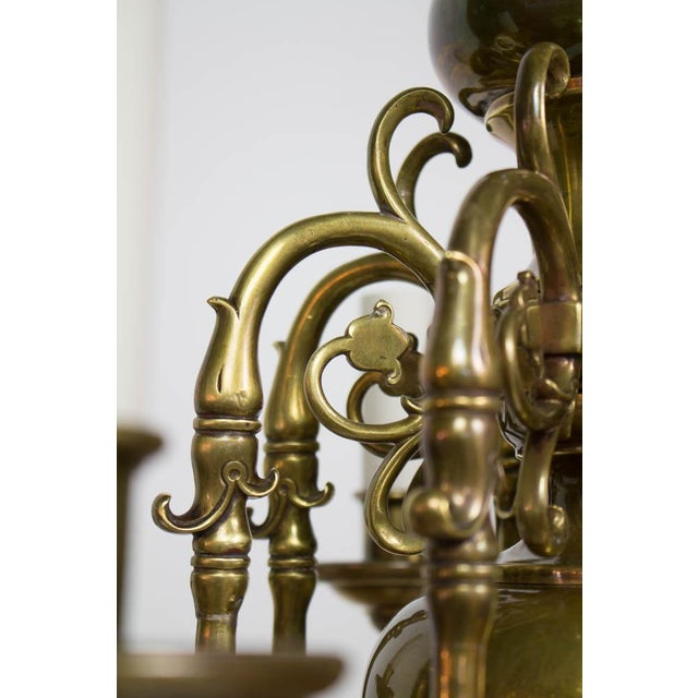 Gold Early 20th Century Dutch Style Eight Arm Chandelier For Sale - Image 8 of 10