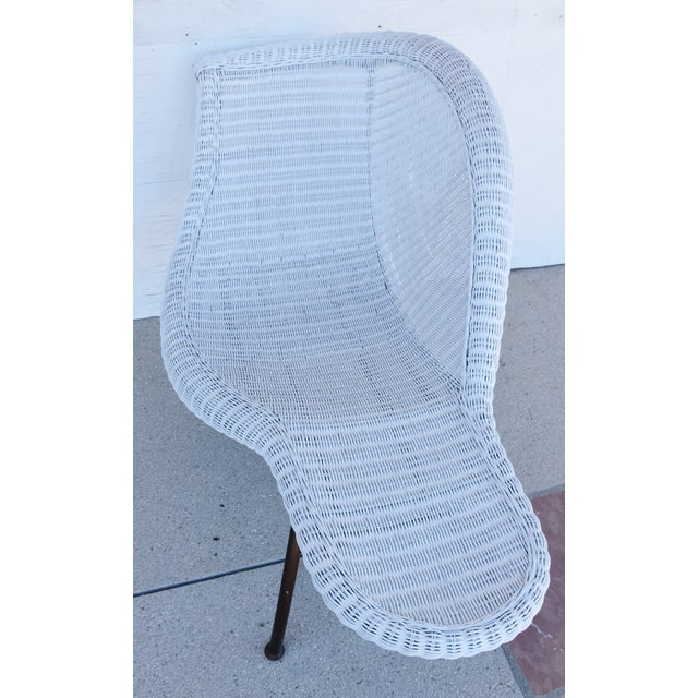 Metal Vintage Modernistic Asymmetric Woven Wicker Chaise Lounge For Sale - Image 7 of 13