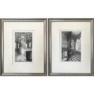 Antique 19th Century Pair of Chateau Staircase Etchings -Chateaus D' Oiron & Chambord For Sale