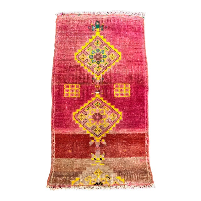 "1960's Turkish Oushak Pink Rug-1'3'x2'3"" For Sale"