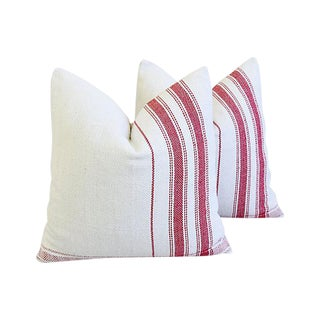 """Custom French Red Stripe Grain Sack Feather/Down Pillows 20"""" Square - Pair For Sale"""