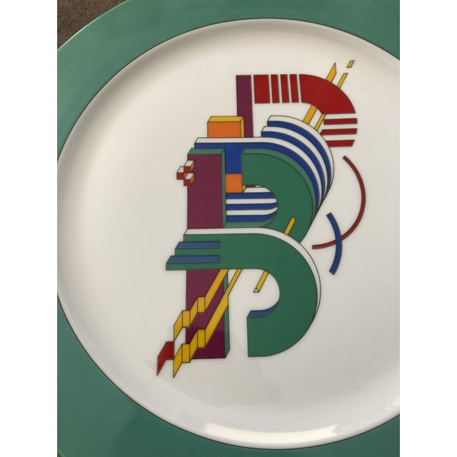 "Designed by Marcello Morandini for Rosenthal of Germany. Mid Century Modern ""B"" alphabet plate."