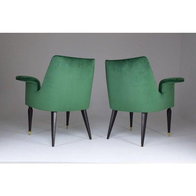 Green 20th Century Pair of Italian Armchairs by Osvaldo Borsani, 1940s For Sale - Image 8 of 11