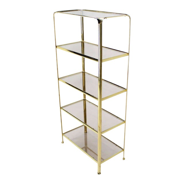 Mid Century Modern Five Tier Brass and Smoked Glass Etagere Shelving Unit For Sale