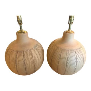 Studio Pottery Spherical Incised Stoneware Lamps - a Pair For Sale