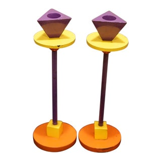 1980s Vintage Geometric Bright Enamel & Iron Memphis Candlesticks- A Pair For Sale