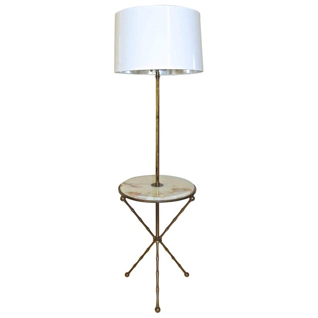 1950s Vintage Bagues Faux Bamboo Tripod Lamp Table For Sale - Image 11 of 11