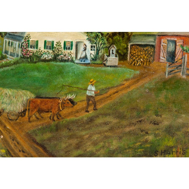 Mid-20th Century Wood Framed Oil / Board Painting For Sale - Image 9 of 10