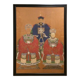 Asian Watercolor of Chinese Ancestors For Sale