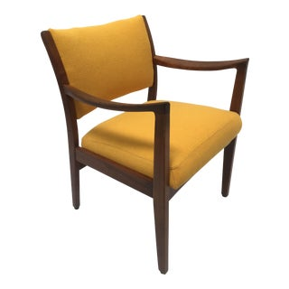 Mid-Century Yellow Wool Arm Chair