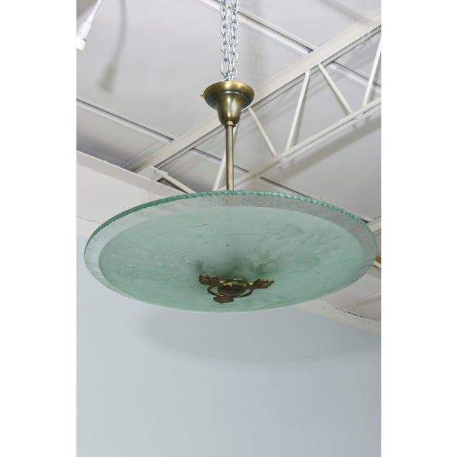 Modern Swedish Modern Frosted and Etched Glass Chandelier, Orrefors For Sale - Image 3 of 10