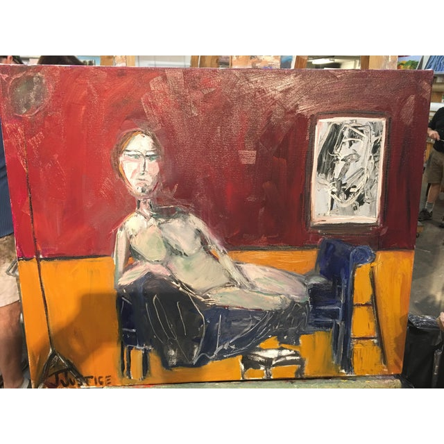 """Canvas JJ Justice """"Everyone Stares at Her"""" Oil Painting For Sale - Image 7 of 11"""
