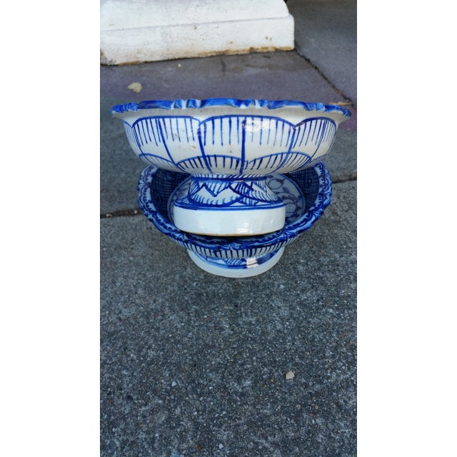 Antique Blue & White Terracotta Bowls- A Pair For Sale - Image 4 of 4