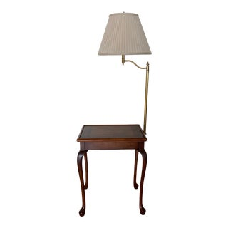 1990s Frederick Cooper Queen Anne Style End Table Floor Lamp For Sale