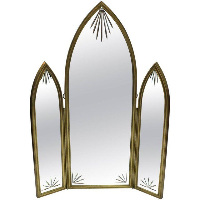 French Art Deco Bronze With Etched Glass Tri-Fold Mirror For Sale - Image 9 of 9