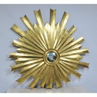 Hollywood Regency Gold Gilt Sunburst Carved Mirror Preview