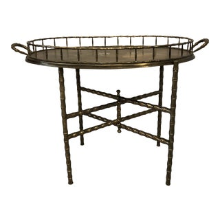 Vintage Hollywood Regency Faux Bamboo Brass Folding Table With Removable Tray For Sale