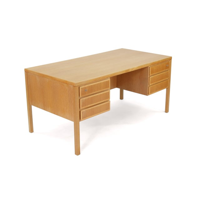 1960s 1960s Danish Modern Executive Desk in Oak by Gunni Omann for Omann Jun For Sale - Image 5 of 13