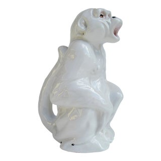 C.1950s Vintage Italian Porcelain Majolica Monkey Water Carafe or Accent Piece For Sale