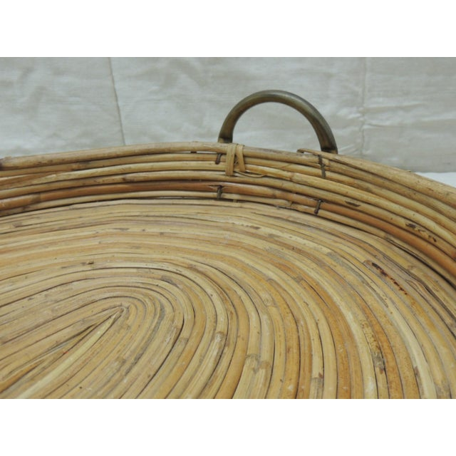 Vintage Bent Oval Rattan Serving Tray With Antique Brass Finished Handles For Sale - Image 4 of 7