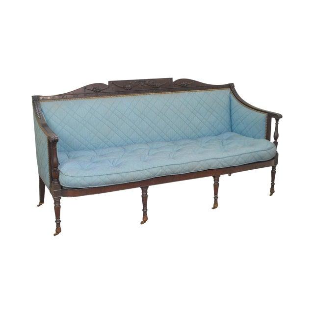Federal Style Antique American Custom Mahogany Frame Sofa For Sale