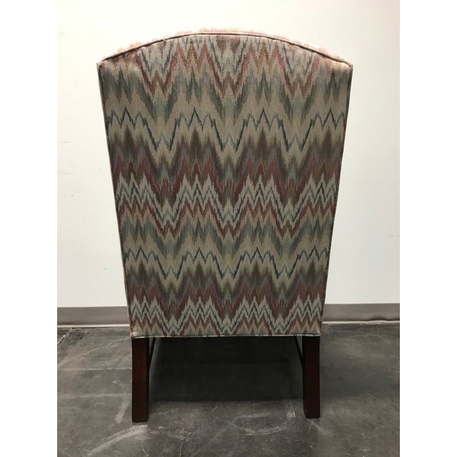 Mahogany Chippendale Flame Stitch Wing Chair For Sale - Image 5 of 10